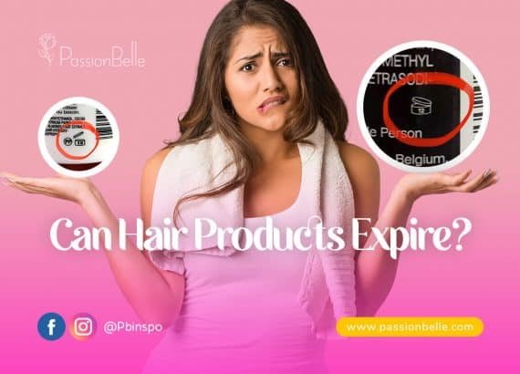 Woman holding hair product expiration symbols for PassionBelle's Can Hair products expire blog