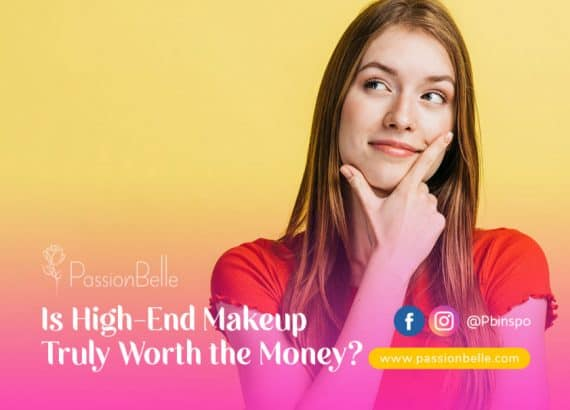 Woman with long hair wondering if high-end makeup is worth the money