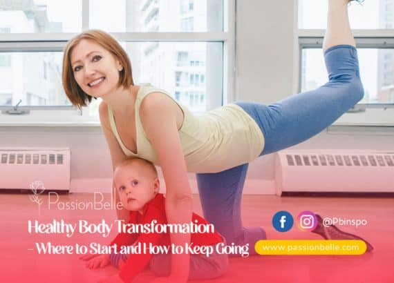 Woman, smiling doing a yoga pose with a baby next to her.