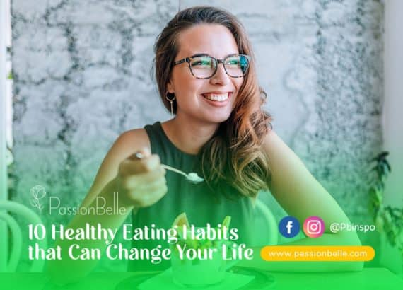 Young woman with glasses at a table practicing healthy eating habits.