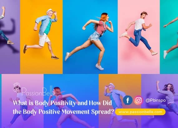 Body positive movement - men and women jumping in the air, smiling.