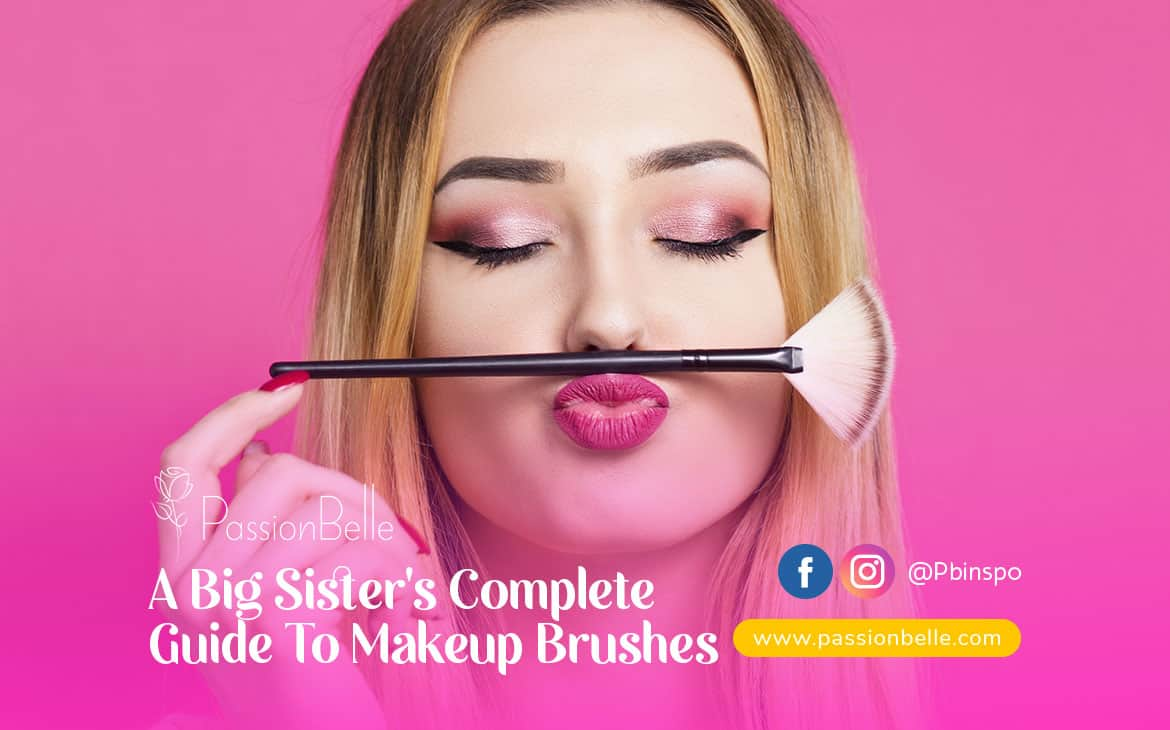Complete Guide to Makeup Brushes title card, with a woman holding a fan brush