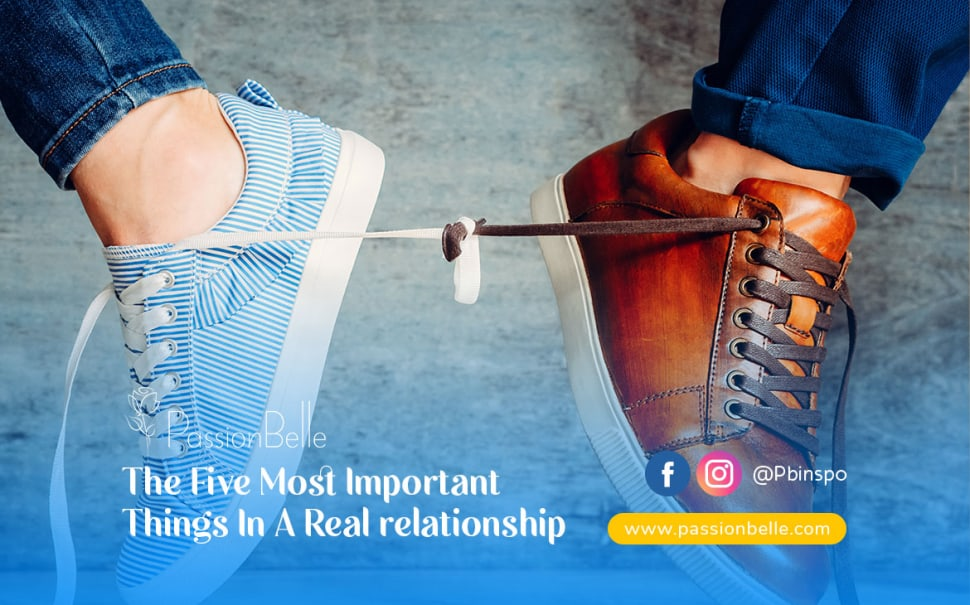 Two shoes tied together to show the five most important things in a real relationship.