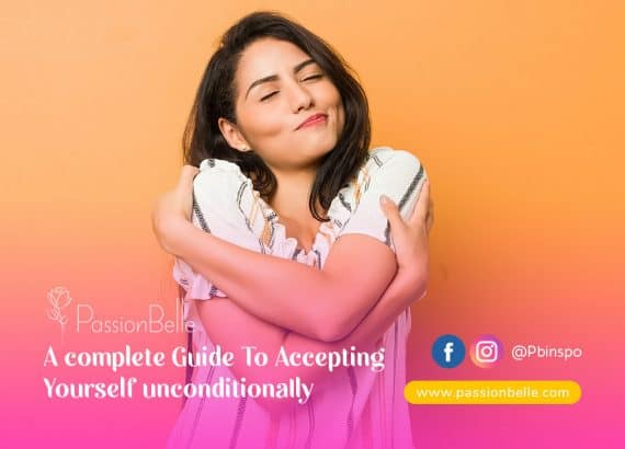 Accepting yourself unconditionally - young woman hugging herself.