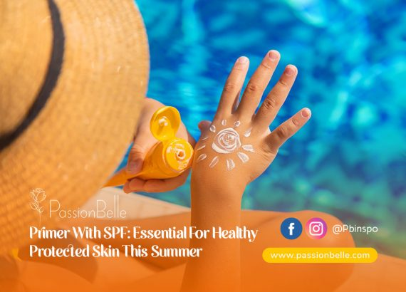 A person sitting by the pool applying primer with SPF.