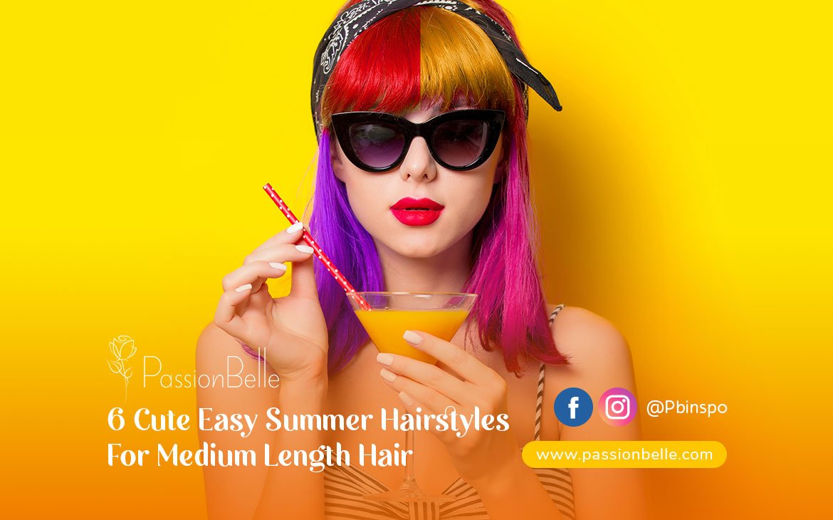 Girl thinking about summer hairstyles for medium length hair.