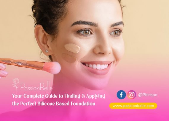 Girl smiling while applying the perfect silicone based foundation.