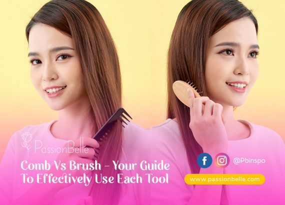 Girl deciding between a comb vs brush and thinking about how to use each tool.