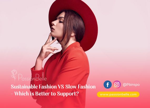 A girl in red thinking about Sustainable Fashion VS Slow Fashion.