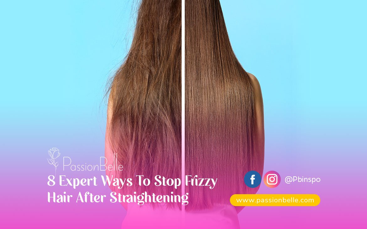 Girl showing how to stop frizzy hair after straightening.
