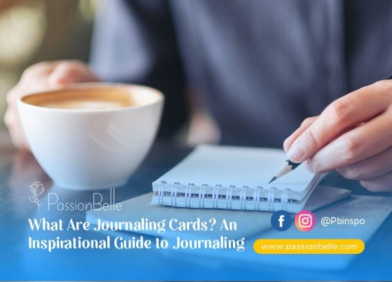 What are journaling cards? A person with a coffee, writing in their journal.